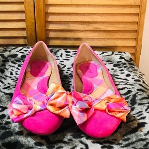 Born pink suede flats with plaid bow size 11.